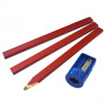 Faithfull FAICPSHARP Carpenters Pencils Red 3 Pck with Sharpener