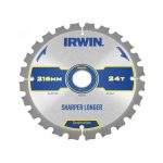 Irwin Construction Circular Saw Blade 216 x 30mm x 24T ATBNeg M