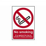 No Smoking It Is Against The Law To Smoke On These Premises – PVC 200 x 300mm