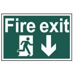 Scan Fire Exit Running Man Arrow Down – PVC 300 x 200mm