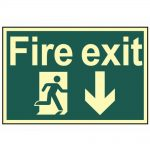 Scan Fire Exit Running Man Arrow Down – Photoluminescent 300 x 200mm