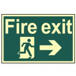 Scan Fire Exit Running Man Arrow Right – Photoluminescent 300 x 200mm