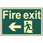 Scan Fire Exit Running Man Arrow Left – Photoluminescent 300 x 200mm