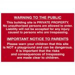 Scan Building Site Warning To Public And Parents – PVC 600 x 400mm