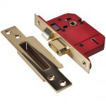 Union StrongBOLT 5 Lever Mortice Sash Lock 81mm Satin Brass